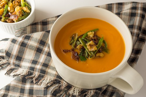This marijuana-enhanced spiced sweet potato and bacon soup is a keeper.