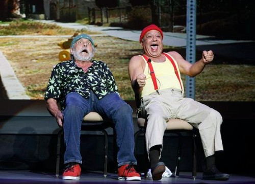 Comedians Tommy Chong, left, and Cheech Marin