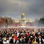 The state Capitol and a packed Civic Center Park on an April 20 from years past. (Joe Amon, Denver Post file)