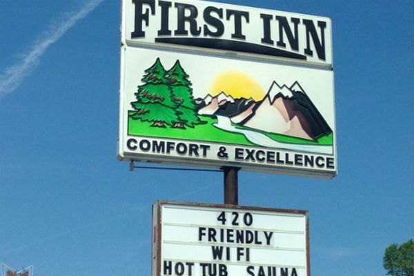 The First Inn's sign in Pagosa Springs, Colo.