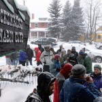 A line forms outside the Breckenridge Cannabis Club on Main Street on Jan. 1, 2014, the first day of recreational marijuana sales in Colorado. (Kathryn Scott Osler, Denver Post file)