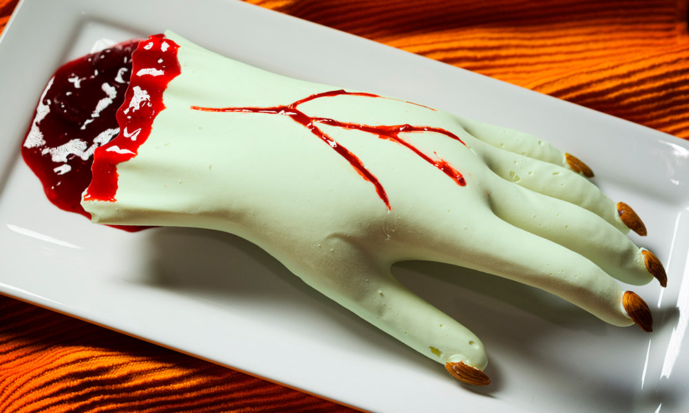 Halloween centerpieces idea: Marijuana-infused white chocolate severed hand