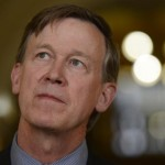 "FILE -- Gov. John Hickenlooper  address the crowd during a press conference at the Colorado Capitol building, May 21, 2013. Hickenlooper issued an executive order granting convicted killer Nathan Dunlap a ""temporary reprieve"" from an execution that had been just three months away."