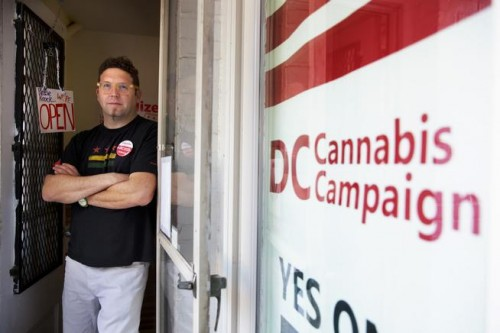 Adam Eidinger, chairman of the DC Cannabis Campaign, poses for a portrait at the DC Cannabis Campaign headquarters in Washington on Oct. 9, 2014. (Jacquelyn Martin, Associated Press file)
