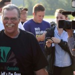 Jeff Mizanskey smiles as he walks away from cameras after being released from the Jefferson City Correctional Center in Missouri on Tuesday, Sept. 1, 2015, after serving two decades of a life sentence.  His release followed years of lobbying by relatives, lawmakers and others who argued that the sentence for a nonviolent marijuana-related charge was too stiff. (Justin L. Stewart, Columbia Missourian/AP)