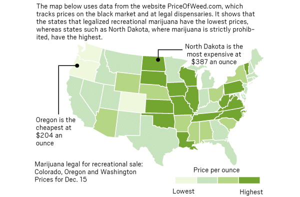 U.S. map of pot prices