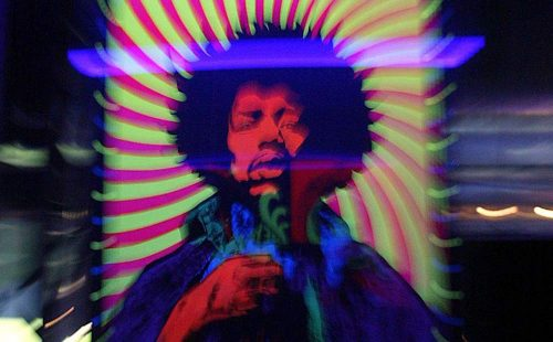 A Jimi Hendrix poster is on display at the Marquee club in London 16 September 2004. 'The Jimi Hendrix Experience' exhibition for the world's largest collection of Hendrix memorabilia most of which have never been seen, heard or displayed before. (Nicolas Asfouri, AFP/Getty Images)